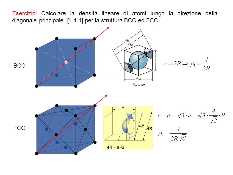 Esercizio: Calcolare la densità lineare di atomi lungo la direzione della diagonale principale [1 1 1] per la struttura BCC ed FCC.